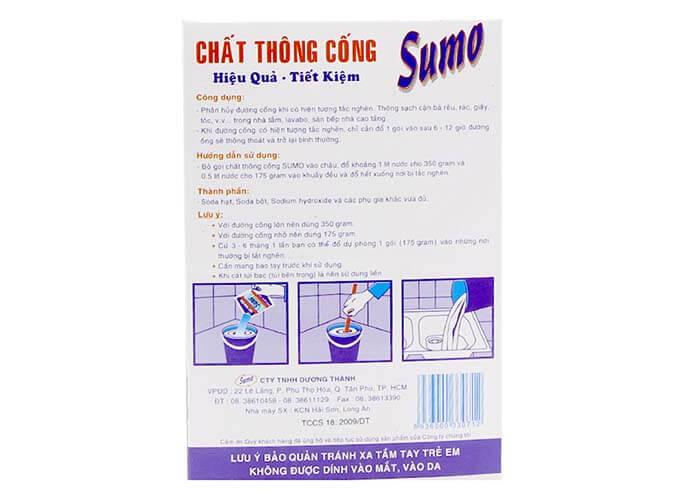Cách sử dụng bột thông cống Sumo